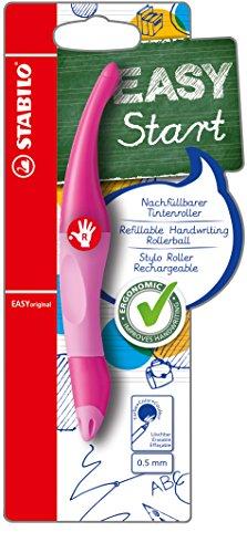 Ergonomischer Tintenroller für Rechtshänder - STABILO EASYoriginal in pink hell/dunkel - Einzelstift - Schreibfarbe blau (löschbar) - inklusive Patrone