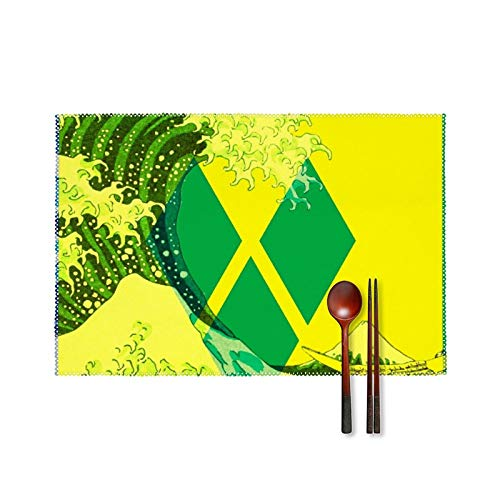 Saint Vincent and The Grenadines Flag Wave Placemats Sets Non-Slip Stain-Resistant Place Mats, Canvas Washable Placemats Sets, Placemats for Kitchen Dining Home Decoration17.7X 11.8 Inch