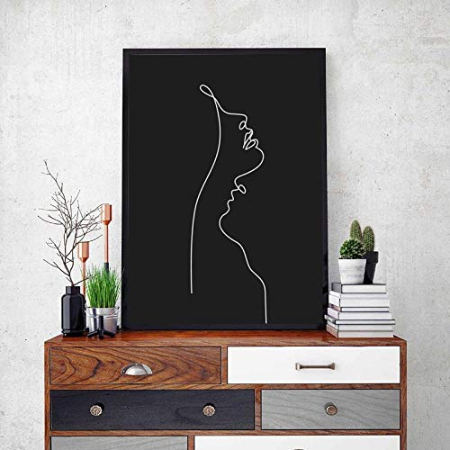 IGNIUBI Abstract Woman Face One Line Drawing Painting Black and White Minimalist Wall Art Picture Modern Poster Home Room Wall Decor 50X70cm No Frame