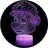 Ray-Velocity 3D Lámpara de Escritorio 7 colores LED Touch lámpara de mesa con control remoto para niños cumpleaños regalo de San Valentín de Navidad (Mario) [Clase de eficiencia energética A]