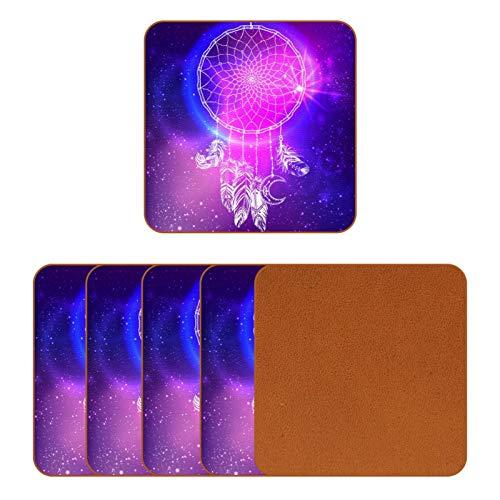 BENNIGIRY Juego de 6 posavasos de piel con diseño de Talisman estrellado, diseño de plumas y luna, para taza de café, tazas de cristal, manteles individuales