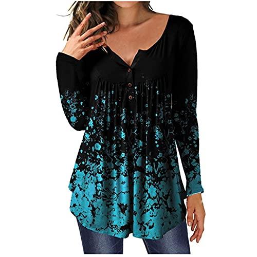 N\P Camiseta de manga larga para mujer con cuello redondo y botones