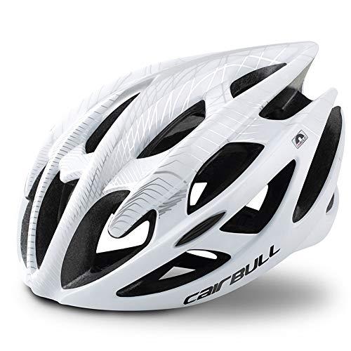 HGCF Casco de la Bici, Kid Casco de Ciclista Ecológico Super Light Casco de Moto Integralmente Ligero Ajustable Carretera de montaña Cascos de Bicicleta para Hombres y Mujeres,Blanco,M (58to62CM)