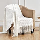 TOUCHAT Knitted Throw Blankets for Couch, Sofa and Bed, Lightweight Soft Knit Blanket with Tassel, Decorative Cozy Farmhouse Throw Blankets for Women and Man (50'x60', Cream White-D)