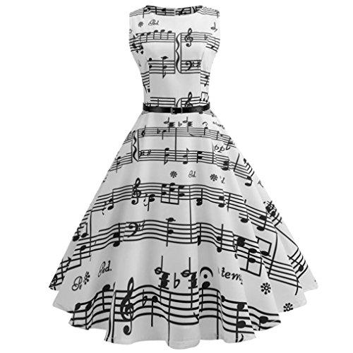 Kword Vestito Donna, Donne Note Musicali Stampati Abito in Vita Hepburn, 50 Anni Bodycon Vintage Senza Maniche Abito Casual per La Sera Prom Swing Party (Bianco, XL/Busto:96cm/37.8')