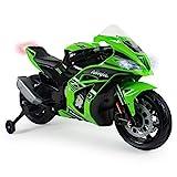 INJUSA – Moto Ninja Kawasaki ZX10 a 12V con Acelerador en Puño, Entrada para Mp3 y Ruedas...