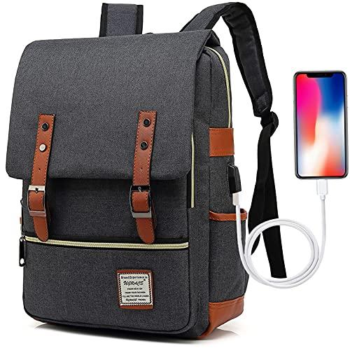 UGRACE Vintage Laptop Backpack with USB Charging Port, Elegant Water Resistant Travelling Backpack Casual Daypacks School Shoulder Bag for Men Women, Fits up to 15.6Inch Laptop in Black