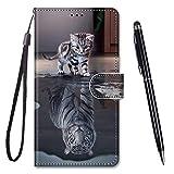 TOUCASA Cover per Huawei P10 Lite,Flip Caso Custodia [Creativo Dipinto] PU Pelle Portafoglio Unico Sottile Funzione TPU Antiurto Flip Cover a Libro per Huawei P10 Lite (Cat Tiger)