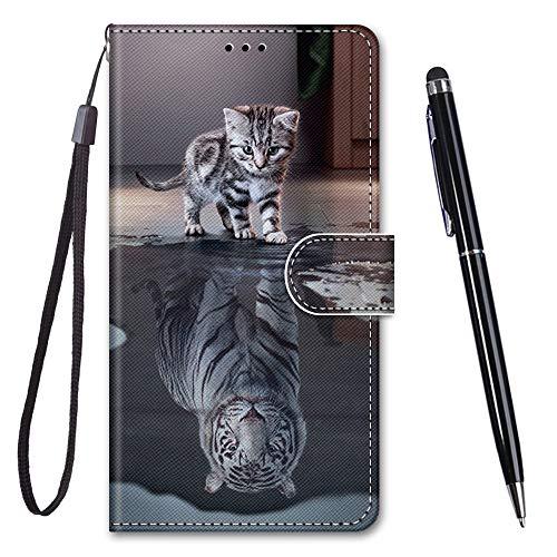 TOUCASA für Galaxy A20S Hülle, Handyhülle für Galaxy A20S,Premium Brieftasche PU Leder Flip [Kreativ Gemalt] Hülle Handytasche Klapphülle für Samsung Galaxy A20S (Katzentiger)