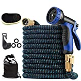 50ft Expandable Garden Hose, Leakproof Flexible Water Hose, with 10 Function Sprayer and 4-Layers Latex Core, Upgraded Expanding Hose with 3/4' Solid Brass Fittings, Free Premium wool Car Wash Mitt