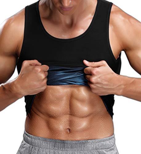 SLIMBELLE Sauna Weste Herren Abnehmen Schwitz Shirt Anzüge mit Polymer-Beschichtung 3X Sweat Saunaanzug Taillentrainer Gewichtsverlust Hot Achselshirts Top Sport Fitness Shaper