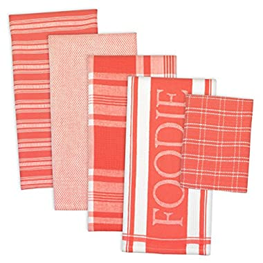 DII Assorted Decorative Kitchen Dish Towels & Dish Cloth Foodie Set, Ultra Absorbent for Washing and Drying (Towels 18x28  & Cloths 13x13 ) Coral Red, Set of 5