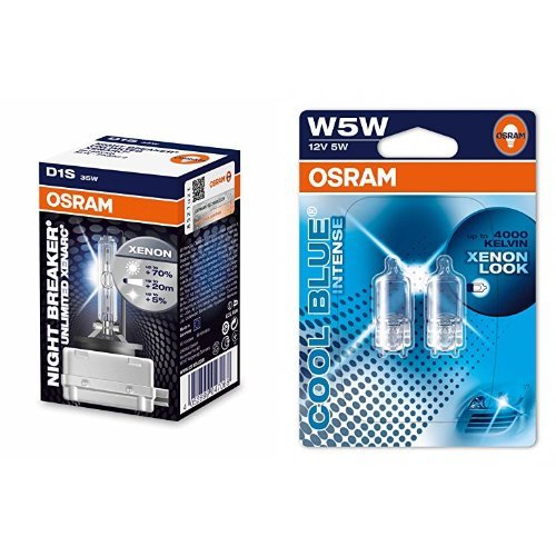 OSRAM D1S Xenarc Night Breaker Unlimited Xenon-Scheinwerfer und W5W Cool Blue Intense Standlicht, je 2 Lampen