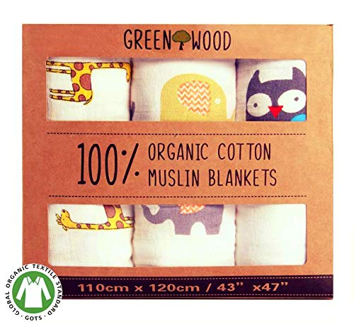 """Muslin Swaddle Blankets Unisex - 100% Organic Cotton - 3 pack 43"""" x 47"""" Ultra Soft and Hypoallergenic - Best Baby Shower Gift"""