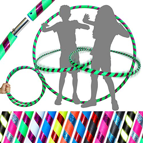 Kid's Hula Hoops - Quality Weighted Children's Hula Hoops! Great for Exercise, Dance, Fitness & Fun! NO Instructions Needed! Same Day Dispatch! (Black/Blue Glitter)