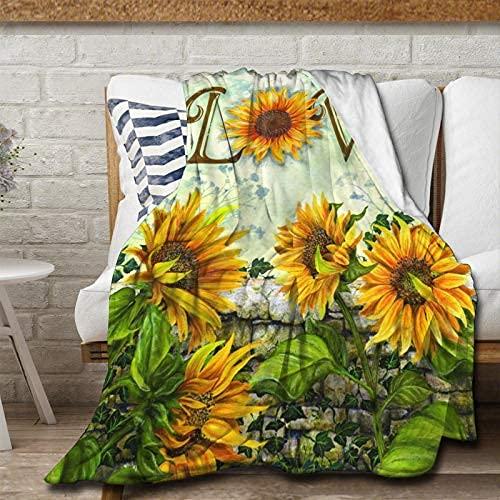 Manta de franela con diseño de girasol, suave y cálido y esponjoso, microfibra ligera para cama, sofá, silla, sala de estar, 150 x 100 pulgadas para adolescentes