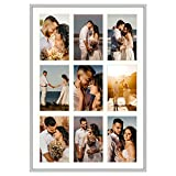 Golden State Art 13.6x19.7 Silver Aluminum Collage Frame - Ivory Mat Included - Fits Nine 4x6 Photos/Pictures - Sawtooth Hanger - Swivel Tabs - Wall Mounting - Landscape/Portrait - Real Glass