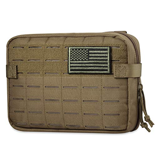 ACETAC Tactical Multi-Purpose EDC Admin Pouch Military Waist Belt Modular Utility Tools Bag Organizer, Laser-Cut Style Molle Attachment Ready (Coyote Brown)
