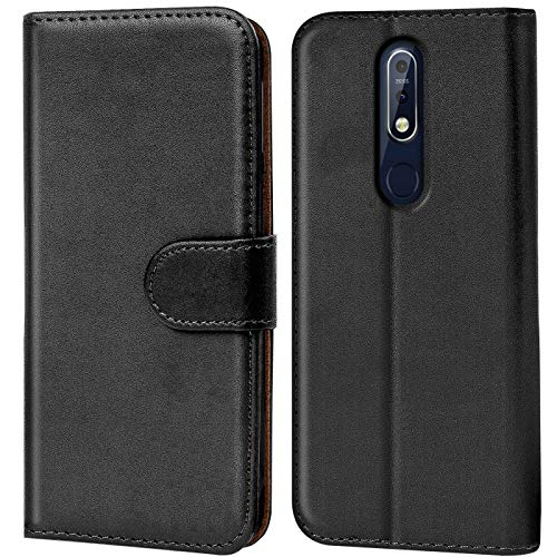 CoolGadget Hülle kompatibel mit Nokia 7.1 Tasche, R&umschutz Robustes Etui aus Kunstleder, Nokia 7.1 Schutz Tasche - Schwarz