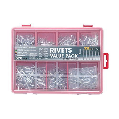 T.K.Excellent Pop Rivets Small Head Aluminum Steel Mandrel Assortment Kit,570Pcs Free Drill 3Pcs