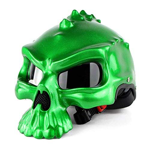 Yelmo Casco de la motocicleta abierta de la cara del cráneo del casco de la motocicleta Casco Hombres Mujeres plástico ABS retro moto mitad de la cara compite con el casco (Color: Oro-XL) Crash Helmet
