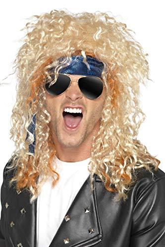 Smiffys Heren Heavy Metal Rocker Set, pruik, zonnebril en hoofddoek, One Size, Blond en Blauw, 41561