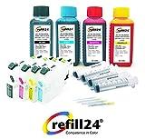 Cartuchos Recargables para Brother 221,223, 225XL, 227XL, 229XL Negro+Color, Incluye Accesorios + 400 ML Tinta