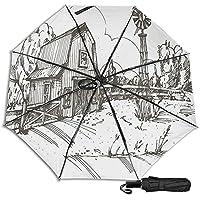 Vintage Barn Windmill 防風二重層通気性トラベル傘、サン傘、防水コーティング生地、持ち運びや旅行が簡単。