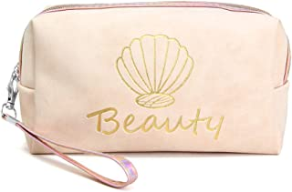 Me Plus Portable Makeup Case Cosmetic Bag for Women Small Pouch Travel Organizer Purse Wristlet With Zipper (Beauty-Ivory)