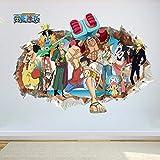 Cartoon Anime Poster Luffy Broken Wall Efecto 3d Pegatinas De Pared Para Habitación De Niños Vinilos Decorativos One Piece Posters Kids Gift Mural 50x70