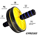 PRO365 Double Ab Wheel Roller/Carver/Abdominal Workout Safe (6 MM Blue Knee Mat, Yellow Roller)
