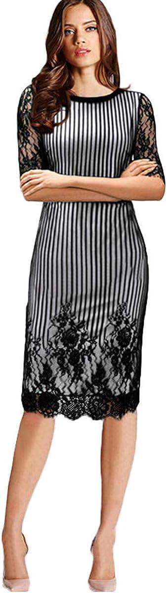 Newdeve Women Dresses for Work Midi Sleeves Bodycon Tunic Dresses