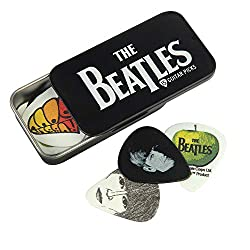 Collectible tin with The Beatles logo 15 high quality celluloid guitar picks with iconic Beatles images Highly detailed artwork on every pick Medium gauge picks Collect them all