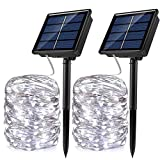 JosMega Solar Fairy String Lights 1-2 Pack 36-72 ft 100-200 LED 8 Modes Twinkle Outdoor Waterproof Silver Wire Upgraded Larger Solar Powered Panel Auto ON/Off (2 Pack 33 ft 100 LED, White)