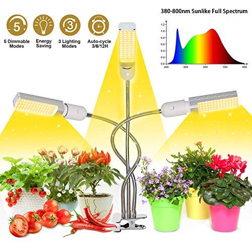Mejora la luz de crecimiento con temporizador de encendido / apagado automático 3/6/12 h, 156 LED Lámpara de crecimiento de espectro completo similar al sol, luz de planta de 3 cabezales