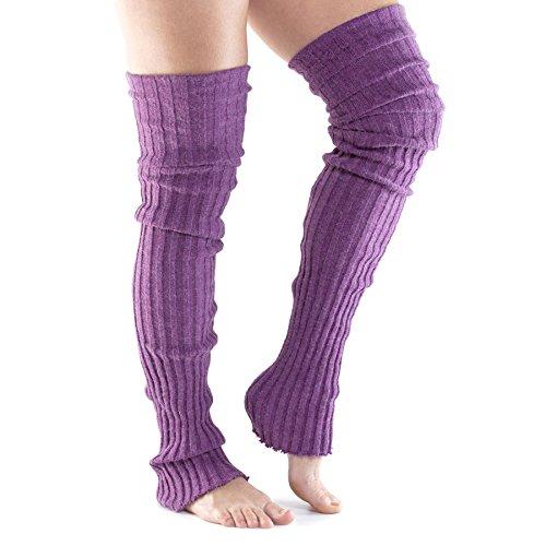 Fitness Mad - Calentador de piernas Unisex para Yoga, Pilates y Casual, Color Morado, Talla única