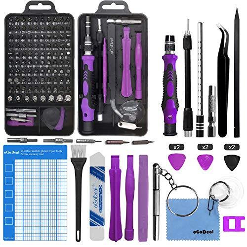 oGoDeal 127 in 1 Mini Feinmechaniker Schraubendreher Werkzeug Set und öffnungswerkzeug für iPhone, PC, Laptop, iPad, Tablet,Computer, MacBook, Brille, Xbox, Uhren, Kamera Reparatur (lila)