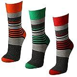 Lavazio 6 Paar bunte Damen Ringel Socken, kombiniert mit grau-melange, Farbe:mehrfarbig, Größe:35-38