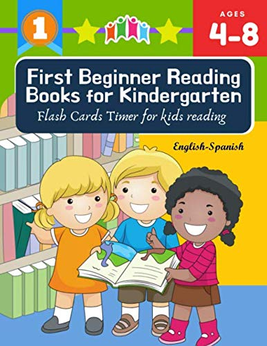 First Beginner Reading Books for Kindergarten Flash Cards Timer for kids reading English Spanish: Read 100 sight words vocabulary with easy sentence ... Coloring books for kids ages 4-8 jumbo