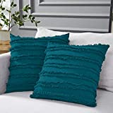 Longhui bedding Teal Throw Pillow Covers for Couch Sofa Bed, Cotton Linen Decorative Pillows Cushion Covers, 20 x 20 inches, Set of 2