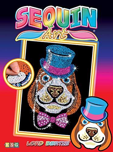 MAMMUT 8011518 - Sequin Art Paillettenbild Hund mit Hut, Steckbild, Komplettset mit Styropor-Rahmen, Bildvorlage, Pailletten, Steckstiften, Anleitung, Bastelset für Kinder ab 6 Jahre