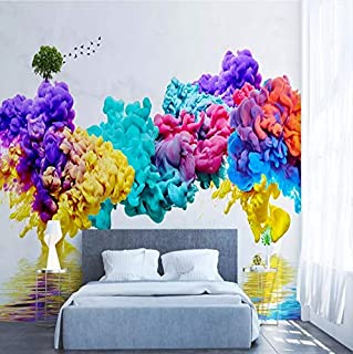 Mural Tinta Color Humo Paisaje Pájaros Resumen Papel Tapiz 3D Sala De Estar Sofá Fondo Decoración