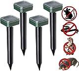 4 Pcs Outdoor Solar Ultrasonic Animal Repeller, Ultrasonic Animal Pest Repeller, Waterproof Outdoor