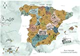 ENJOYERS QUE TE QUITEN LO VIAJAO SINCE 2015 Mapa España para Rascar - Mapa Rascable Esencia de España Ilustrado a Mano - 65x45cm - Solo Lamina - Sin Marco