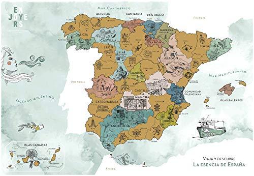 ENJOYERS Mapa España para Rascar - Mapa Rascable Esencia de España Ilustrado a Mano - 65x45cm - Solo Lamina - Sin Marco