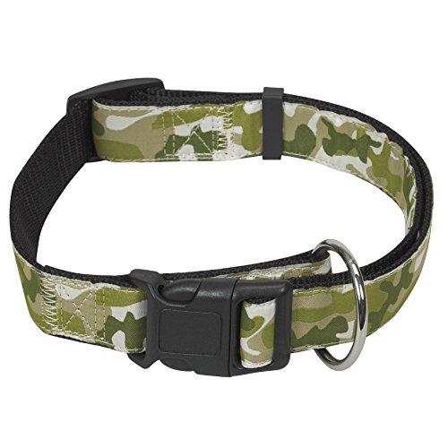 CHAPUIS SELLERIE Collier pour Chien Réglable Nylon Camouflage Vert 25 mm 40 - 65 cm , Taille L