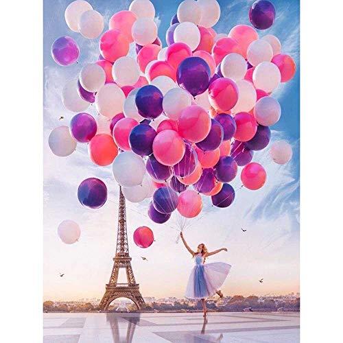 5d regalos de amor de diamantes completos'torre de niñas y globos' bordado bordado decorar pintura de diamantes de imitación