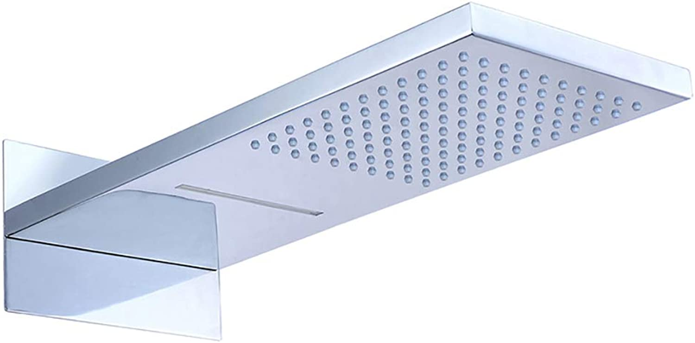 HUIJIN1 Regenduschkopf, 2-Wege-Hochdruck-Wasserfall-Duschkopf aus ultradünnem Messing mit Silikon-Düse, Duschkopf für Badezimmer zur Wandmontage, Chrom-Finish