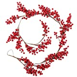 67Inch Christmas Red Berry Garland,Decorative Artificial Burgundy Red Pip Berry Christmas Garland for Christmas Holiday Decorations,Unlit