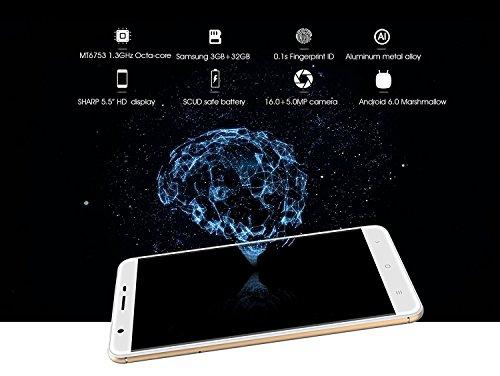 Oukitel U15 Pro - smartphone 4G schermo 5,5 pollici 3GB di RAM 32GB ROM Camera 16.0MP posteriore Android 6.0 di impronte digitali Bluetooth 4.0 - Grigio